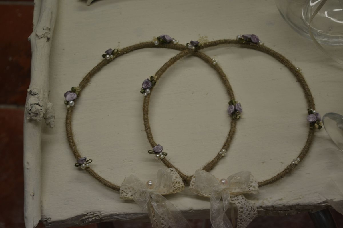 Vintage  Wedding Set Lavender Colored Flowers