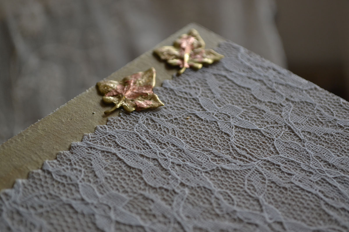 Wooden Handmade Tray Decorated with Lace and Golden Leaves
