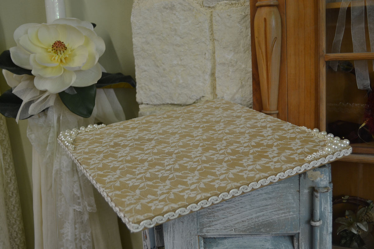 Wooden Handmade Tray Decorated with Lace