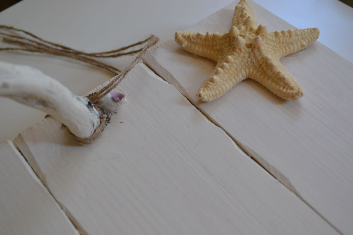 Wooden Handmade Tray Decorated with Driftwood Handles and a Starfish