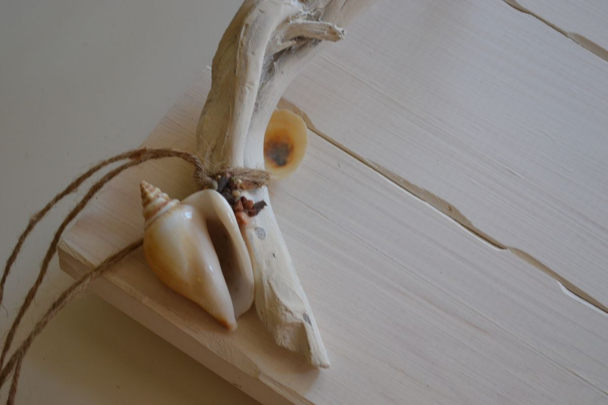 Wooden Handmade Tray Decorated with Seashells