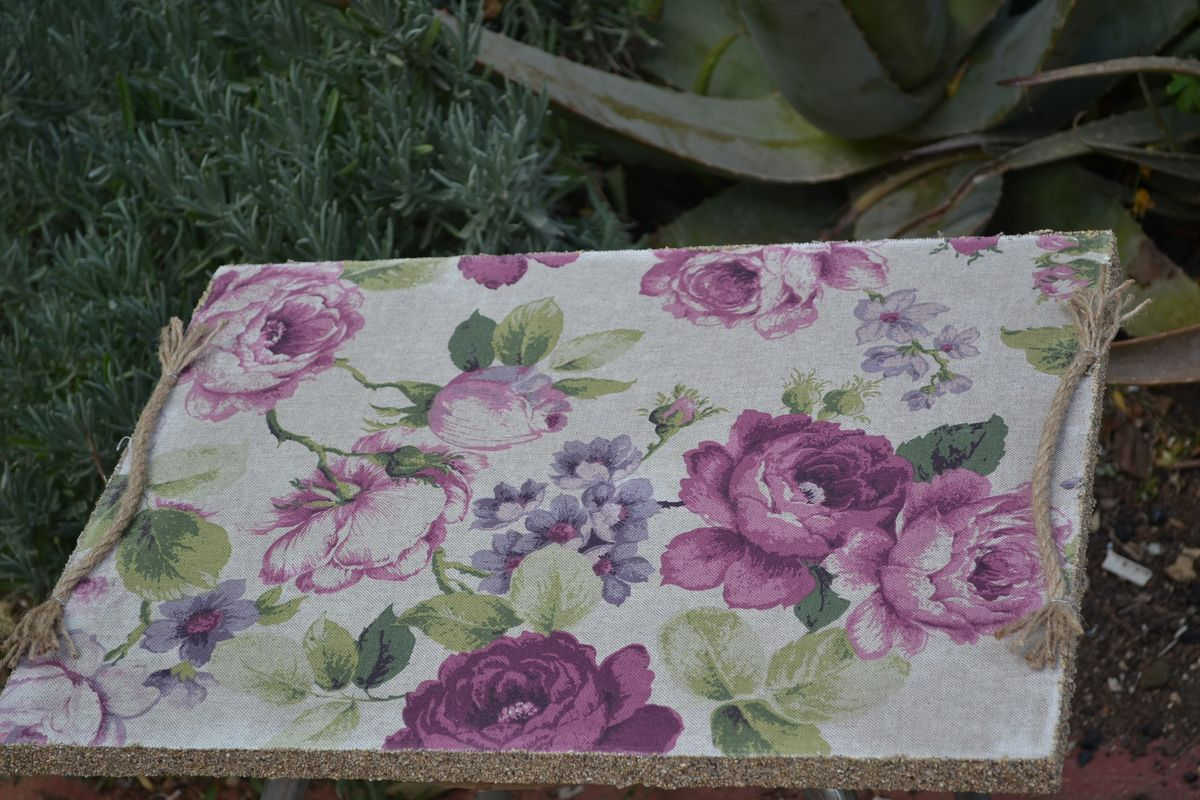Handmade Wooden Tray Decorated with  a rope and a Lavender Colored